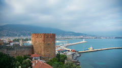 Kizil Kule (Red tower in turkish) - the symbol of alanya Stock Footage