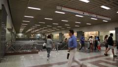People inside Syntagma metro station Stock Footage