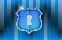 shield over a binary background illustration - stock illustration