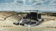 Caesarea amphitheatre sunset stage Stock Footage
