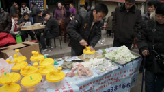 Traders in temple fair during The Spring Festival Stock Footage