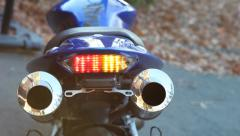 Motorcycle LED Tail Light (with audio) - stock footage