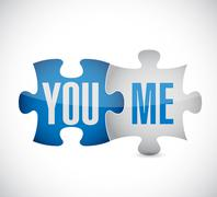 you and me puzzle illustration design - stock illustration