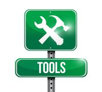 tools street sign illustration design - stock illustration