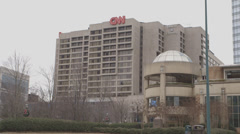 Stock Video Footage of CNN Center on a grey day