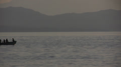 Boat passing by horisontally at Ohrid lake Macedonia Stock Footage