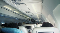 Commercial Airplane Interior Stock Footage