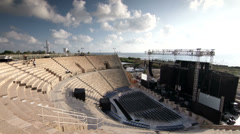 Caesarea amphitheatre stage side view timelapse Stock Footage