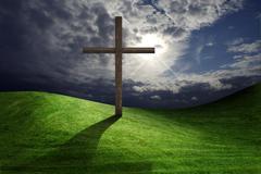 Kristillinen Kristuksen ristin kentässä Kuvituskuvat