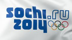 Olympic Flag Sochi 2014 Stock Footage