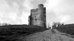 English castle (B & W , Dolly) Stock Footage