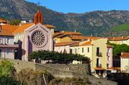 Stock Photo of mediterranean village of cerbere and its church
