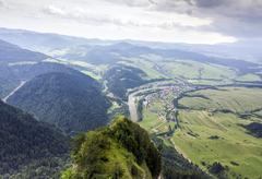 Aerial view of mountains, rivers, fields and meadows Stock Photos