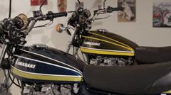 Kawasaki Bikes rail slide zoom in Stock Footage