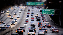 Busy Los Angeles Freeway Traffic Daytime - Tilt Shift Stock Footage