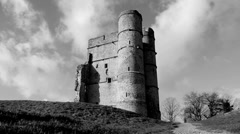 Castle & cloudy sky timelapse (B & W) Stock Footage