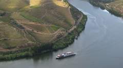 Boat on Douro river in Portugal - stock footage