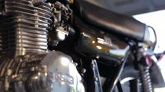 Kawasaki 900 Motorcycle Engine rack focus Stock Footage