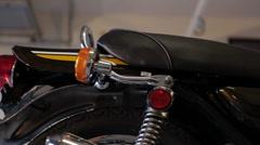 Motorcycle Kawasaki side pan Stock Footage