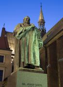 poland krakow statue of josef dietl in front of franciscan church - stock photo