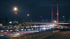 Time lapse istanbul night traffic Stock Footage