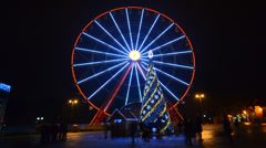 Ferris Wheel Amusement Park Time Lapse, Christmas, Kharkov, Ukraine - stock footage