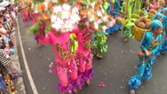 Stock Video Footage of jumping dance of Fish, flower and fruits costumed street dancers