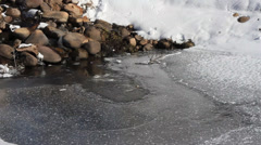 Ice and snow begins to melt into pond for spring. Stock Footage