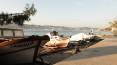 Boats parking on Bosporus Stock Footage