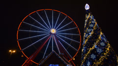 Ferris Wheel Amusement Park Time Lapse, Christmas, Kharkov, Ukraine Stock Footage