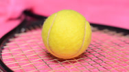 Stock Video Footage of Tennis Ball and Racket, dolly shot