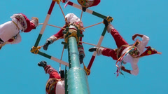 Dancers on the air, Papantla - stock footage
