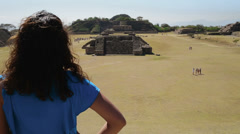 Tourist on the pyramids of monte alban Stock Footage