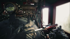 Engine of steam train Stock Footage