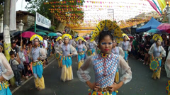 Marching formation of fan headress street dancers Stock Footage