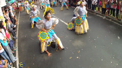 Sensual street dancers ride on partner Stock Footage