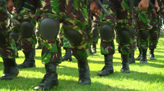Indonesian Soldiers marching in fatigues Stock Footage