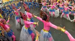 Calistenic move of street dancers in oriental headdress costume Stock Footage