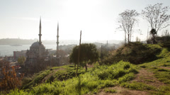 Time lapse oldcity Mosque and Bosporus Stock Footage