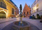 "Stock Photo of poland, krakow, the fountain statue of a student, popular name ""zak"" at st ma"