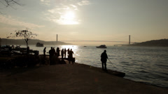 Sunset Time lapse fishing silhouettes on Bosporus Stock Footage