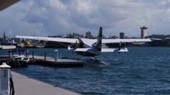 Pontoon plane sea airplane sea plane Stock Footage