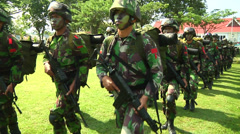 Indonesian Soldiers March in Poso Stock Footage