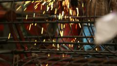 Welding Bore Pile Cage with Sparks Stock Footage