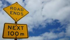 "Road sign ""Road Ends"", Australia Stock Footage"