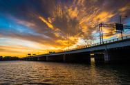 Stock Photo of sunset over the potomac river and george mason memorial bridge in washington,