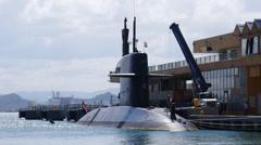 HNMLS DOLFIJN S808 Dutch submarine-netherlands-royal-navy-in-pier-dock 2/13 Stock Footage
