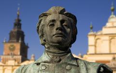 monument to great polish poet adam mickiewicz, krakow, poland - stock photo