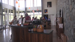 Interior winery tasting bar side view Stock Footage