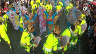 Stock Video Footage of circle dance butterfly costumed street dancer